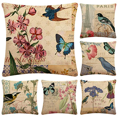 Faylapa 6 Pack Cotton Linen Pillow Cases,Butterfly Bird Decorative Cushion Cover Pillowcase Indoor Sofa Decorations 18×18 Inches (45×45cm)(Case ONLY)