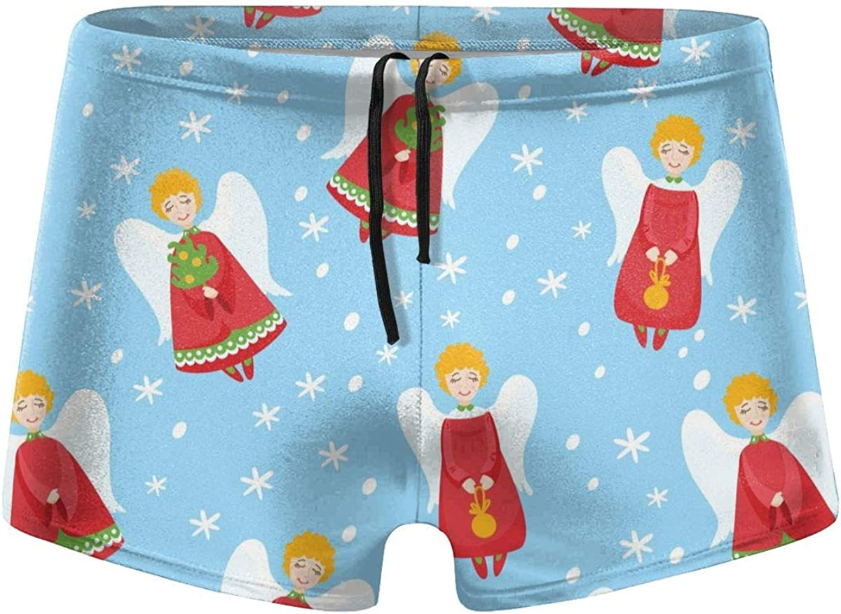 Christmas Angels in Vintage Style Men's Swimming Trunks Fitness Swimwear Boxer Pants Board Shorts