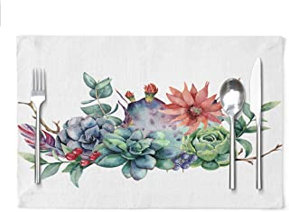 Ansote Watercolor Tropical Flowers Cactus Placemats, Watercolor Floral Bouquet with Cactus and Flower Succulent 12x18 Inch...
