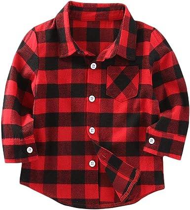 Camisa de franela a cuadros para niños y niñas, manga larga, con botones, color rojo NB-6T - Rojo - 6-12 meses