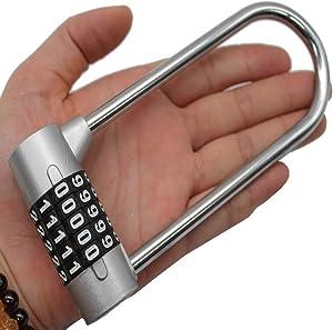 2.75 inch girders Lock Cabinet Door Password Gym 5 Combination Lock Solid zinc Alloy Padlock resettable U-Lock