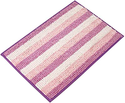ZHHL Bathroom Rugs, Soft Shaggy Non Slip Absorbent Bath Mat Stripe Chenille Short Pile Shower Carpet Door Mat | 4060CM (Color : TE02)