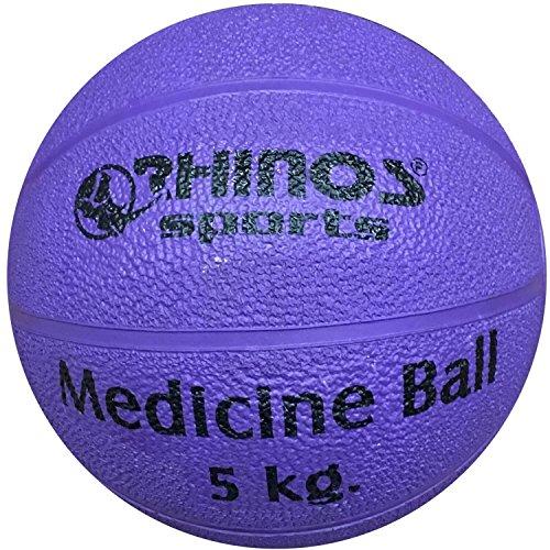 Rhinos Sports - Balón medicinal (800 g, 1 kg, 1,5 kg, 2 kg, 3 kg, 4 kg, 5 kg), color morado, tamaño 5 kg