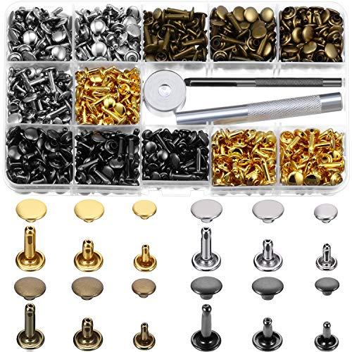 540 Set 3 Größen Leder Nieten Doppelkappe Niet Röhrenförmige Metallnieten 4 Farbe mit 3 Fixing Werkzeug Kit für Lederhandwerk Reparaturen Dekoration