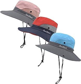 3 Pieces Women's Outdoor Ponytail Safari Sun Hat Foldable Mesh Wide Brim Beach Fishing Hat