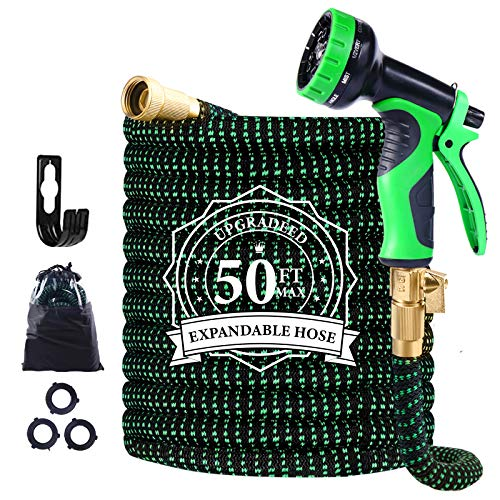 Garden Hose Expandable, 50ft Leakproof Garden Hose with 10 Functions Nozzle, Flexible Water Hose with Durable 3-Layers Latex Core, 3/4' Solid Brass Fittings, Premium 3750D Fabric