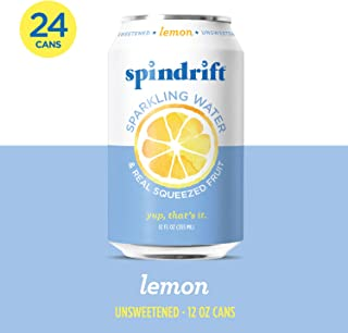 Spindrift Sparkling Water, Lemon Flavored, Made with Real Squeezed Fruit, 12 Fl Oz Cans,..