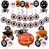 "🎃Il pacchetto include: 1 x ""Happy Halloween"" Banner, 1 x Pumpkin Spider Balloon, 8 x Blood Eye Balloons, 8 x Orange Pumpkin Balloons, 8 x Black Skull Balloons, 1 x Black Star Balloon, 1 x Orange Star Balloon, 2 x Black Palloncini Spider, 6 x nastro a..."