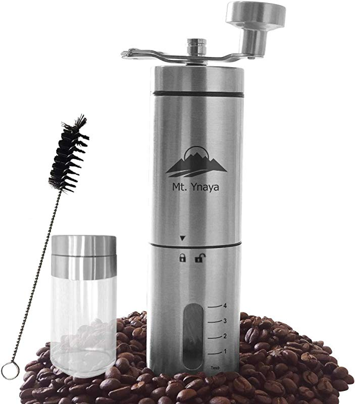 Manual Coffee Bean Grinder By Mount Ynaya Stainless Steel Triangular Body Foldable Crank With Ceramic Burr Adjustable From Fine To Coarse For Different Brewing Extra Storage Container Included