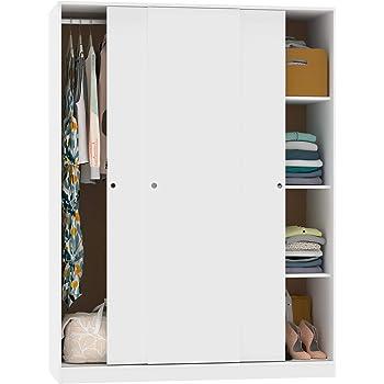 Armario vestidor ropero 3 Puertas habitación Matrimonio Juvenil Dormitorio Tibet Blanco 200x150x55 cm: Amazon.es: Hogar