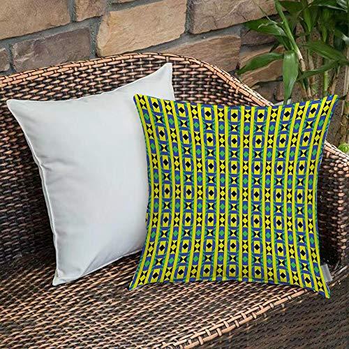 Funda De Cojine Funda de Almohada,Kente Pattern, Geometric Vertical Borders Funky Colorful Native Kenya Design with Triangle,Fundas de Cojín con Cremallera - Fundas de Almohada para Sofá y Cama45x45cm