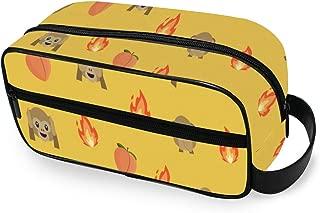 Toiletry Bag Monkey Fire Peach Emoji Pattern Makeup Organizer Cosmetic Bag Pouch For Women Girl Small Bag