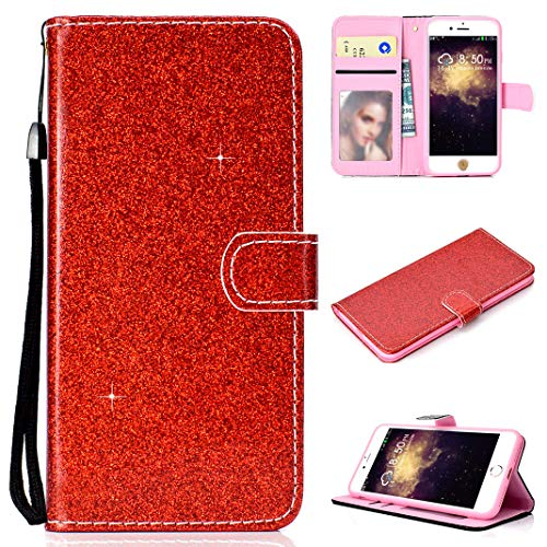 Compatible con iPhone 8 Plus Carcasa Magnético Rojo, Brillante Glitter Libro Cuero Carcasa Billetera Tapa Bolsillo Ranuras de Tarjeta Función de Soporte Flip Glitter Case Compatible con iPhone 7 Plus