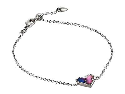 Kendra Scott Ari Heart Delicate Chain Bracelet (Rhodium Watercolor Illusion) Bracelet