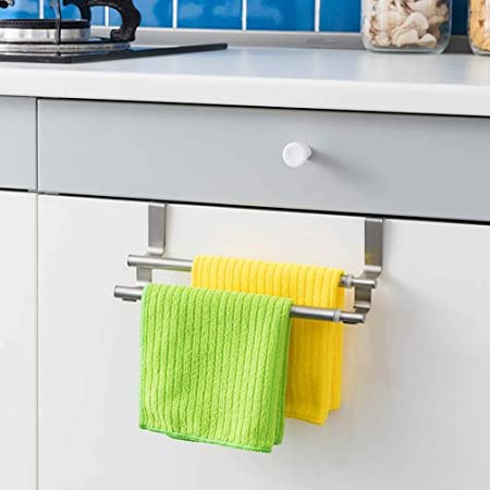 Stainless Steel Bathroom Towel Holder Rack Kitchen Cabinet Hanging Storage Shelf