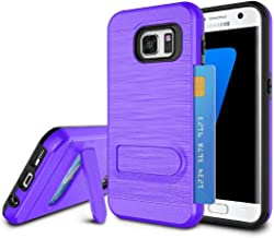 Galaxy S7 Edge Case, S7 Edge Case for Girls, Jeylly [Metal Satin] Card Holder with Kickstand Hybrid Dual Layer Hard Plastic + Soft TPU Drop Protection Case Cover for Samsung Galaxy S7 Edge (Purple)