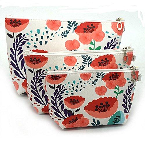 Panlom® Pack 3 Sacs de Maquillage PU Cuir Trousse de Toilette Voyage Make Up Pochette pour femme Filles