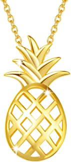 Yellow Gold Plated 925 Sterling Silver CZ Cubic Zirconia Colorful Cute Yellow Tropical Pineapple Necklace Fashion Jewelry For Women Girls