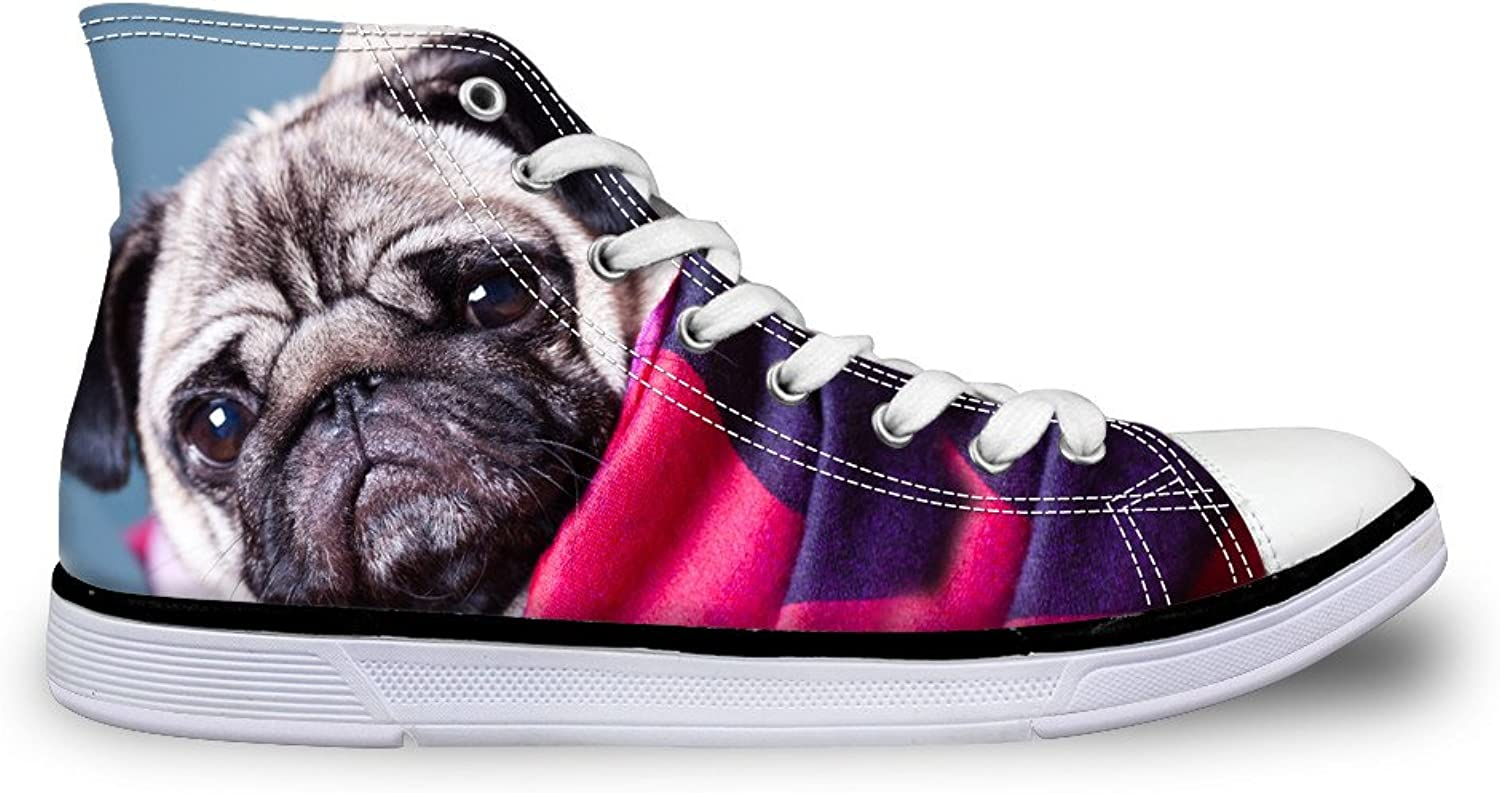 Chaqlin Cute Animal Pugs Women Canvas shoes High Top Sneakers