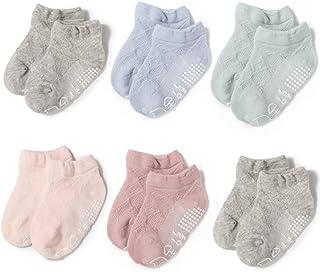 0-5 years old Baby Non-Slip Socks ABS Toddler Socks Girls Breathable Mesh Socks 6 Pairs