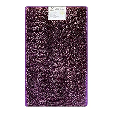 Verxii Home Memory Foam Luxury | No-Slip Soft Shaggy Bath Floor Mat Set | Multiple Choice (1-PC Medium, Bright Purple))