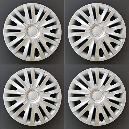 MARROW New Wheel Covers Replacements Fits 2010-2014 Volkswagen Golf / 2012-2013 Volkswagen Golf R, 15 Inch; 9 Split Spoke; Silver Color; Plastic; Set of 4; Spring Steel Clip