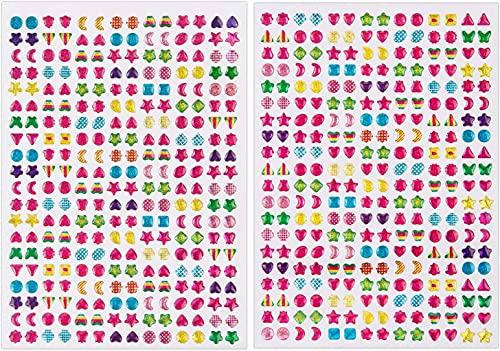 SAVITA 2000+ Strass Adesivi 3D Glitter Sparkle Crystal Stickers per Bambini più Colori e Forme(4 Fogli)