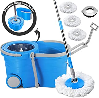Spin Mop Bucket with Wringer on Wheels-Send 3 Microfiber Mop Refills & 1 Floor Brush Head Masthome Stainless Steel Rolling Mop Set for Hardwood Floor Cleaning