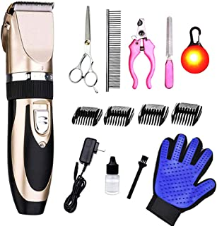 VARWANEO Psalms Professional Dog Grooming Clippers Kit - Cordless Rechargeable Clippers,Low Noise & Suitable Horse Cat Dog Hair Clippers Shaver Tools (Gold 1)