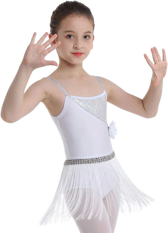 Ranrann Girls Jazz Latin Dance Shiny Sequined Gymnastic Leotard Tassels Dress for Tango Rumba Salsa