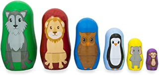 BestPysanky Set of 6 Wolf, Lion, Owl, Penguin Wild Animals Plastic Nesting Dolls 4.5 Inches