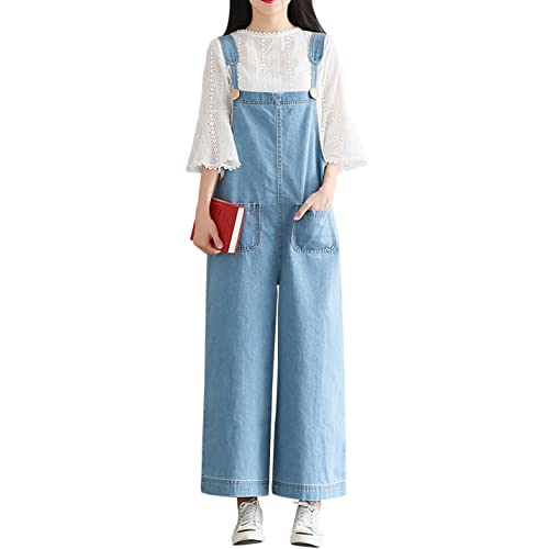 c678bed0fcd Yeokou Women s Loose Baggy Wide Leg Cropped Denim Jumpsuit Rompers Overalls  Pant