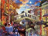 5D DIY diamante bordado pintura ciudad completo cuadrado taladro punto de cruz paisaje mosaico Venecia costura decoración del hogar A8 45x60cm