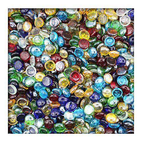 KiesKönig 1 kg Glasnuggets Glassteine Muggelsteine Mosaiksteine Tischdeko 17-19 mm Bunt