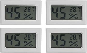 Cikonielf 4 Uds 2 en 1 termómetro higrómetro Mini medidor de Temperatura Digital Integrado medidor de Humedad Interior higrómetro Pantalla LCD(TS-804-W)