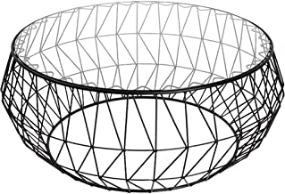 LBBGM Tables Diameter 35.4inch Personality Iron Coffee Table Contemporary Tempered Glass Coffee Table Large Round Creative...
