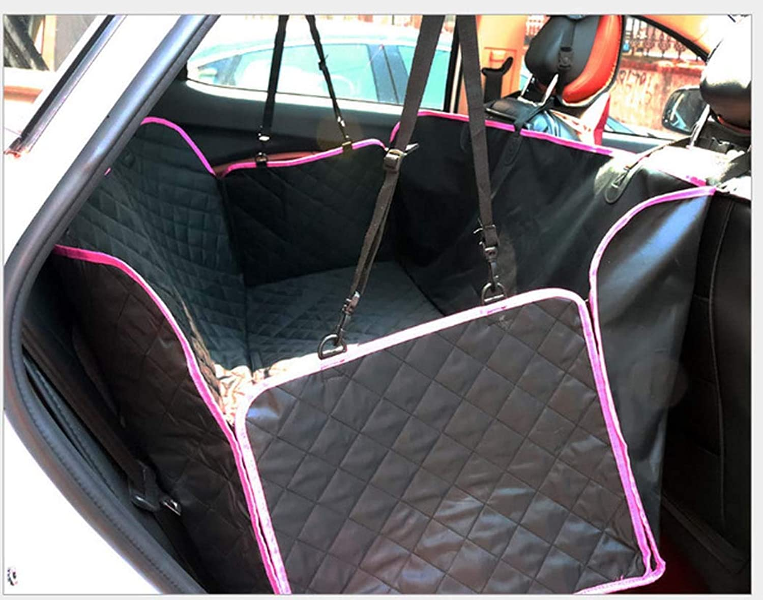 Dog car seat Cover Luxury pet seat Cover, 600D Heavy Duty Waterproof NonSlip AntiSlip pet seat Cover car SUV and Truck Hammock, Pet car seat Cover Back seat,rededging