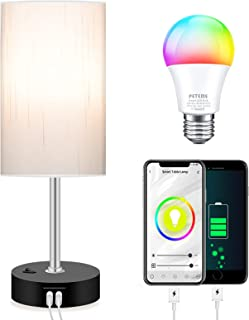 Smart RGB Bedroom Lamps with APP Control & Music Sync, 2 USB Port Dimmable Alexa Lamps Bulb Included, Peteme Bedside Lamp,...