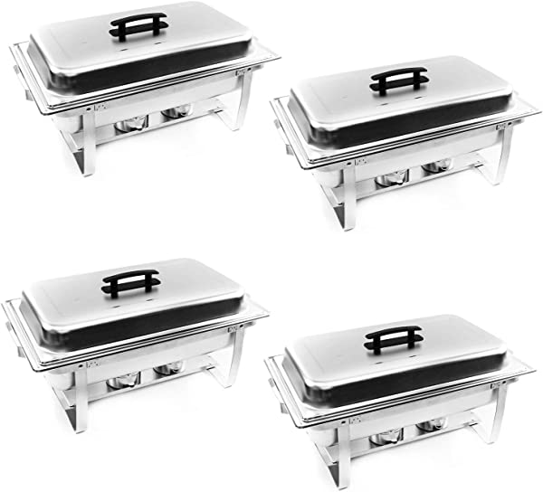 ALPHA LIVING 70014 4 Pack 8QT Chafing Dish High Grade Stainless Steel Chafer Complete Set 8 QT