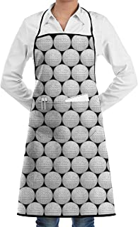 NiYoung Unisex Golf Ball Bib Apron with Roomy Pocket Machine Washable Comfortable Adjustable Long Ties Chef Aprons for Kitchen Crafting BBQ Grilling Drawing
