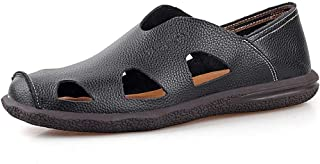 Xujw-shoes, Mens Sports Outdoor Sandals Water Shoes Hollow Anti-Collision Toe for Men Fashion Outdoor Slip On Style OX Leather Folding Resistant Durable
