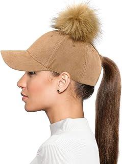 قبعة بيسبول نسائية من بي جي، قبعة ذيل حصان قابلة للتعديل من الفراء الصناعي بوم بوم قبعة بيسبول للنساء