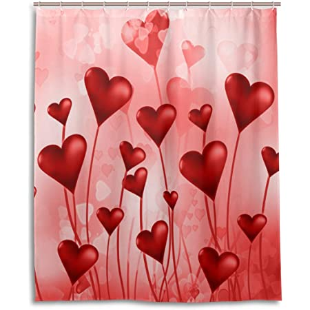 """Valentine/'s Day Red Hearts on Tree of Life Shower Curtain Set Bathroom Decor 72/"""""""