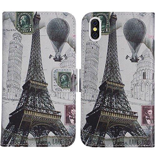 TienJueShi Eiffelturm Flip Book-Style Brief Leder Tasche Schutz Hulle Handy Hülle Abdeckung Fall Wallet Cover Etui Skin Fur Doogee X53 inch
