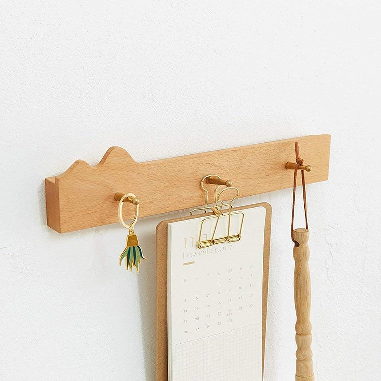 Der Coat Hooks, Home Hanger Wall Hanger Bedroom Simple Hanger Black Walnut Wood Hanger Coat Hooks Coat Rack (color   Beige, Size   36cm)