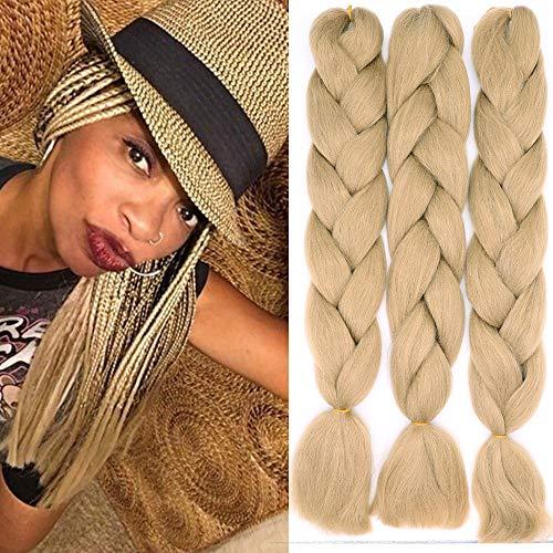 3 piezas 60cm Extensiones para Trenzas Africanas 300g Extensiones de Pelo Sintético para Hacer Trenzado Cabello Kanekalon Jumbo Braid Crochet Twist Braiding (Rubio oscuro)