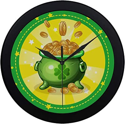 Modern Simple Cartoon Green Pot Of Gold Coins Set Greeting Card Pattern Wall Clock Indoor Non