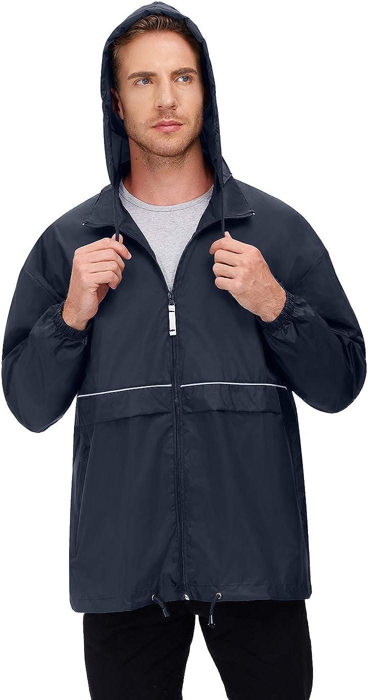Men's Rain Jacket Cycling Running Jackets Women's Waterproof Raincoat with Hood Windbreaker Hiking Jacket Rain Coat