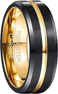 NUNCAD 4mm/6mm/8mm/10mm Tungsten Ring for Men Women Black/Blue/Gold/Rose Gold/Silver Groove Wedding Bands Beveled Edges En...