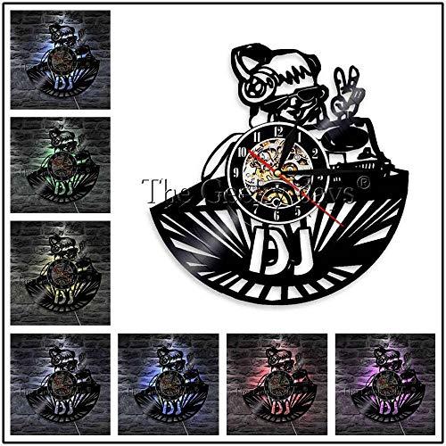 FDGFDG DJ Plattenspieler Plattenspieler Vinyl Wanduhr Nachtclub Musik Party Tanzshow Vintage LED Silhouette Home Decor Lichtuhr Geschenk